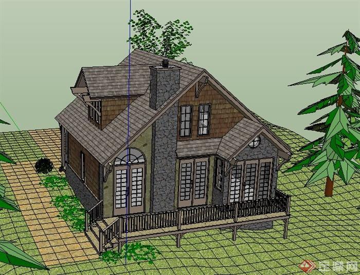 乡村美式风格住宅别墅建筑设计su模型[原创]