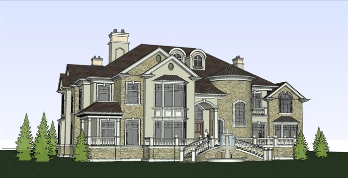 欧式风格古典别墅建筑设计su模型[原创]