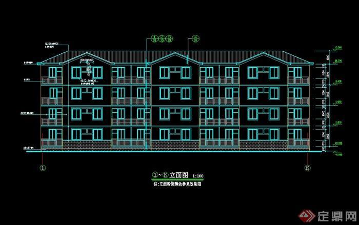 现代中式风格部队多层宿舍楼设计cad平立面图[原创]
