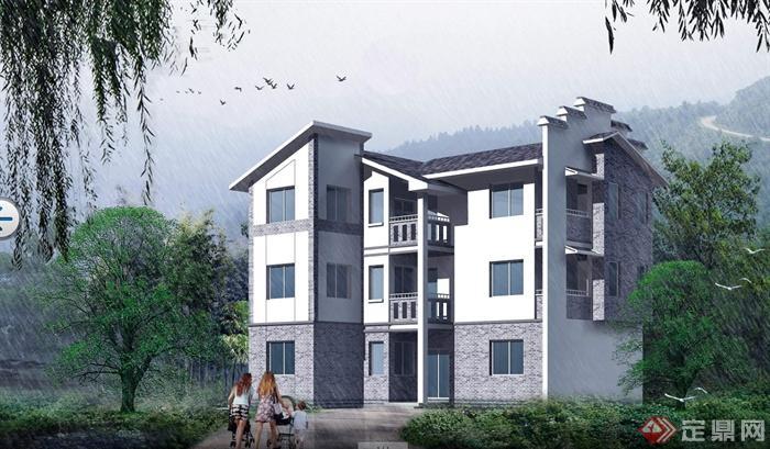 3层新农村别墅建筑设计cad图纸带效果图