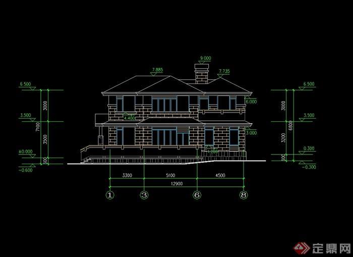 欧式风格别墅建筑设计cad图纸带效果图[原创]