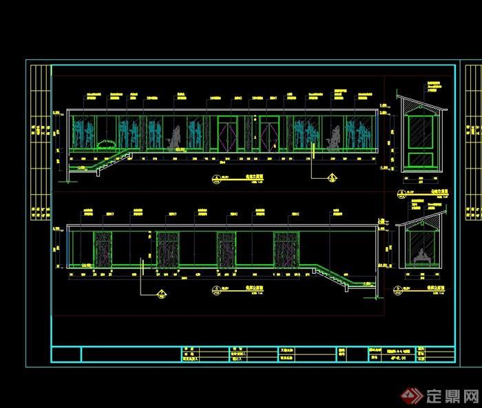 某现代中式风格宾馆酒店设计cad施工图(10)