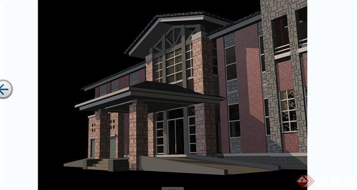 某英式风格乡村独栋别墅建筑设计cad施工图含jpg效果图[原创]