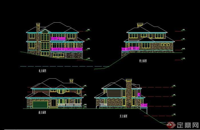 某欧式风格滨水别墅建筑设计cad施工图含jpg图片