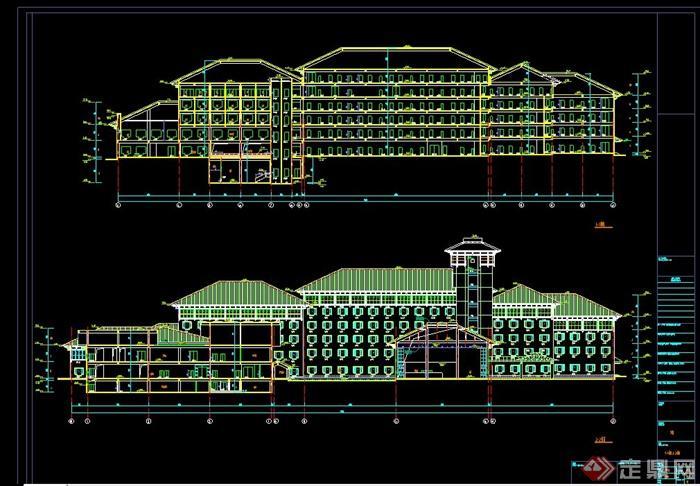 某欧式风格多层滨湖宾馆建筑设计CAD施工图(14)