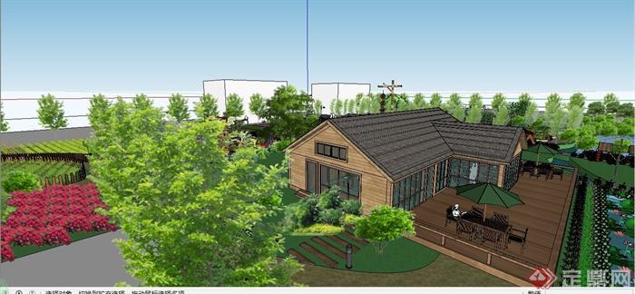 某现代风格生态庄园景观规划设计SU模型(1)
