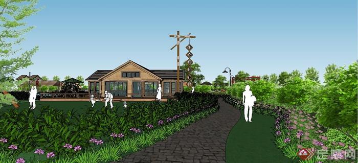 某现代风格生态庄园景观规划设计SU模型(4)