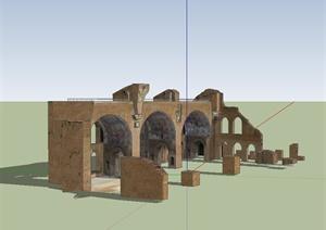 某欧式风格马克西斯残迹建筑设计SU(草图大师)模型