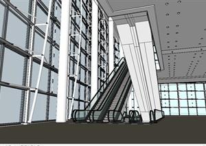 某现代风格商场室内电梯设计SU(草图大师)模型