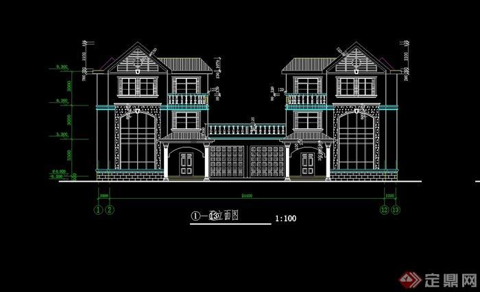某欧式风格三层别墅建筑设计cad施工图(建筑 结构)[原创]