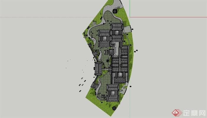古典中式风格苏州四大名园之拙政园建筑设计SU模型(12)