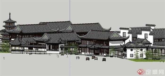 古典中式风格苏州四大名园之拙政园建筑设计SU模型(13)