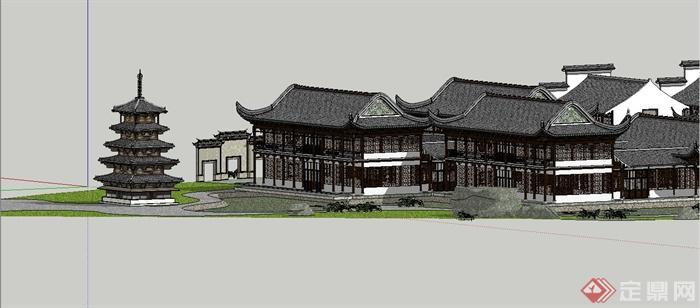 古典中式风格苏州四大名园之拙政园建筑设计SU模型(14)