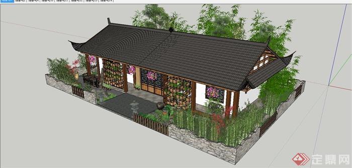 某中式白族特色民宿住宅庭院景观规划设计SU模型(9)