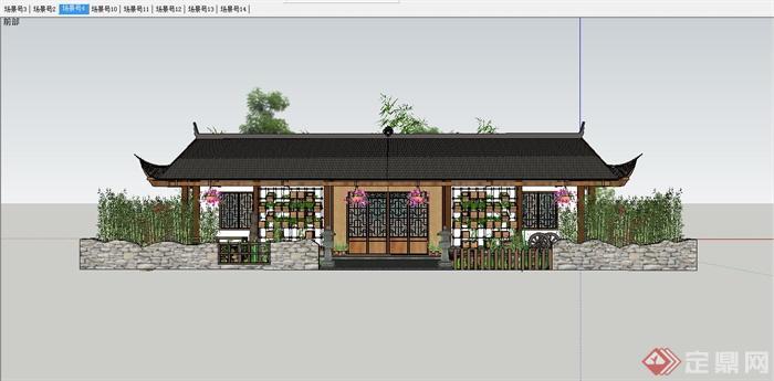 某中式白族特色民宿住宅庭院景观规划设计SU模型(10)