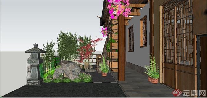 某中式白族特色民宿住宅庭院景观规划设计SU模型(11)