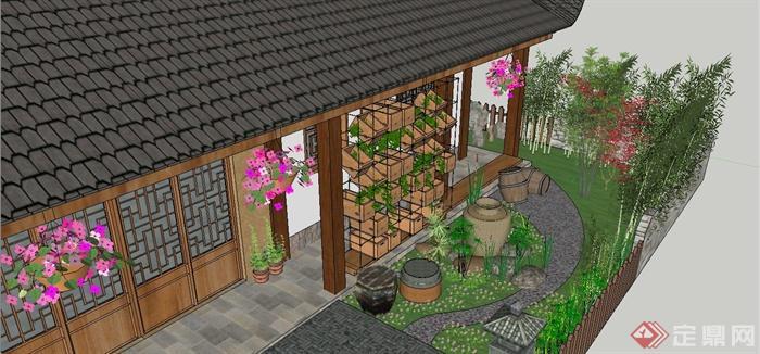 某中式白族特色民宿住宅庭院景观规划设计SU模型(12)