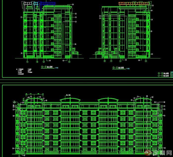 现代风格坡地多层住宅建筑设计cad施工图[原创]