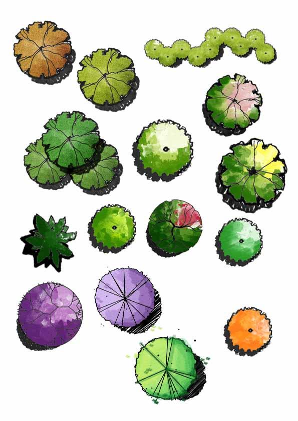 多种不同的手绘风格平面树psd集锦
