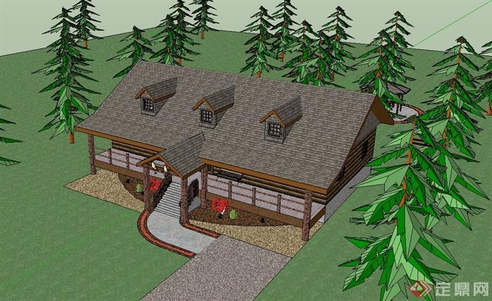 某欧式风格单层别墅住宅建筑设计su模型[原创]
