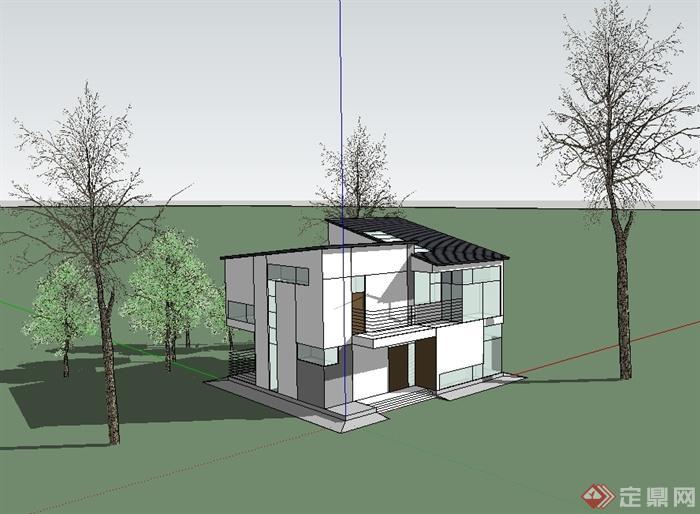 现代中式风格两层简单的别墅建筑设计su模型[原创]