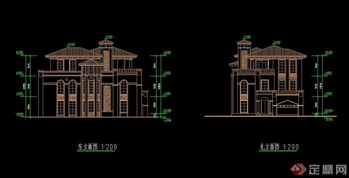 3层独栋欧式别墅图纸带效果图[原创]