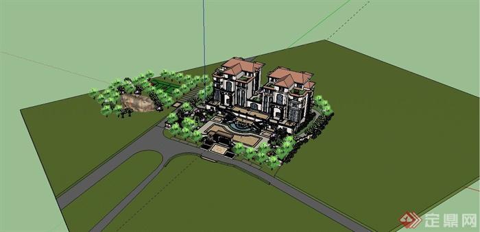 某欧式风格双拼别墅建筑设计SU模型含JPG图片(11)
