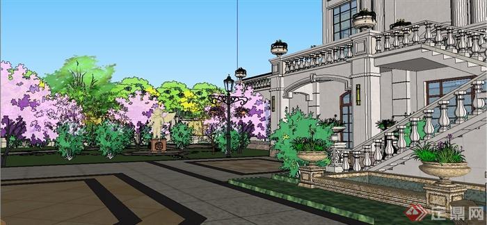 某欧式风格双拼别墅建筑设计SU模型含JPG图片(12)