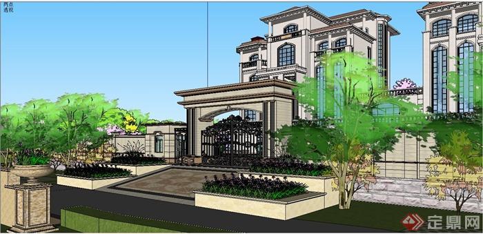 某欧式风格双拼别墅建筑设计SU模型含JPG图片(14)