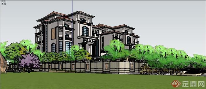 某欧式风格双拼别墅建筑设计SU模型含JPG图片(15)