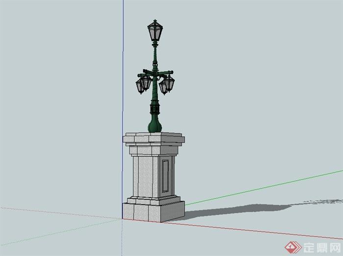 欧式风格详细景观灯设计su模型(1)