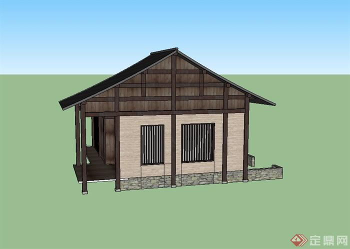 现代中式风格单层农村自建房设计su模型[原创]