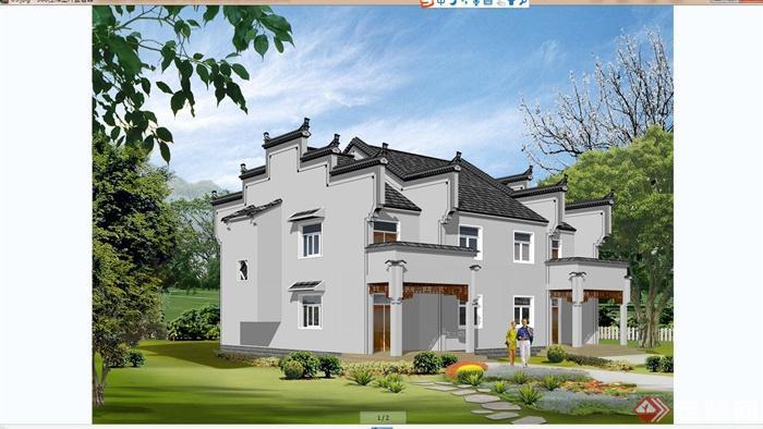 某现代中式风格农村别墅建筑设计cad方案含jpg效果图