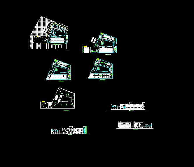 某现代简单的图书馆建筑设计cad方案