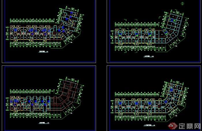 现代风格多层转角楼住宅楼设计cad方案图,图纸绘制详细精致完整,可直接下载用于相关小区设计使用,有需要请下载使用。