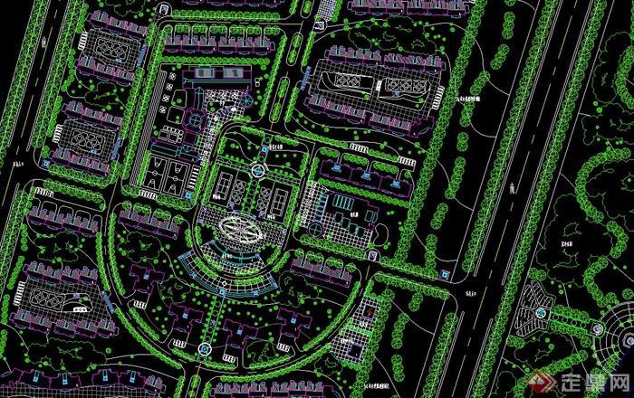 某現代精美住宅小區景觀規劃設計cad方案平面圖[原創]