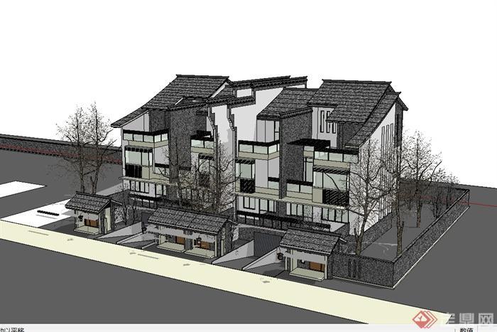 微派农村别墅住宅建筑设计su模型(2)