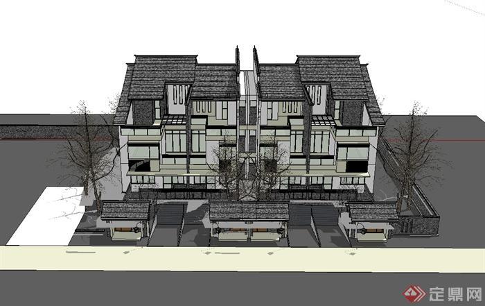 微派农村别墅住宅建筑设计su模型(3)
