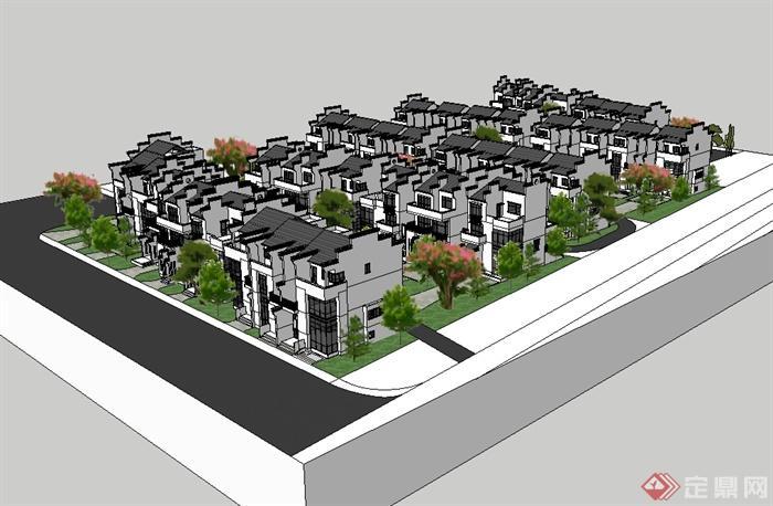 徽派中式别墅群建筑设计su模型(2)