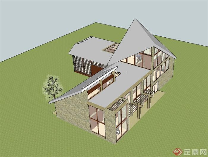 現代風格小房子別墅建筑樓設計su模型(1)