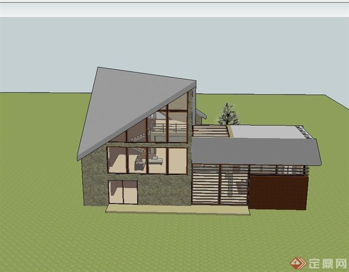 現代風格小房子別墅建筑樓設計su模型(3)