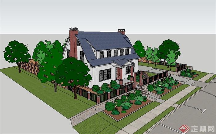 某欧式私人独栋别墅建筑楼设计su模型(2)
