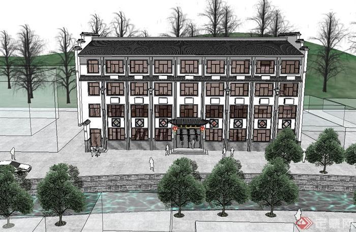 某现代中式风格多层酒楼建筑设计su模型[原创]