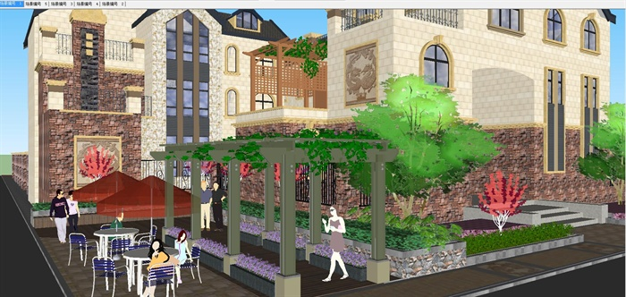欧式别墅建筑与景观设计su模型