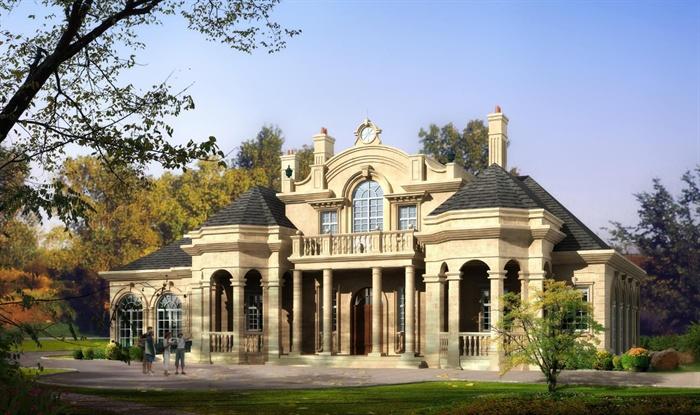 法式豪宅大独栋别墅单体设计su模型(附高清效果图 CAD建筑平、剖面图)