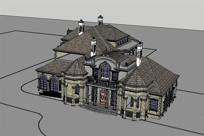 法式豪宅大独栋别墅SU单体模型(附高清效果图+CAD建筑平、剖面图)(6)