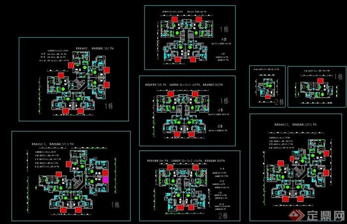 三居室及两居室经典户型平面图