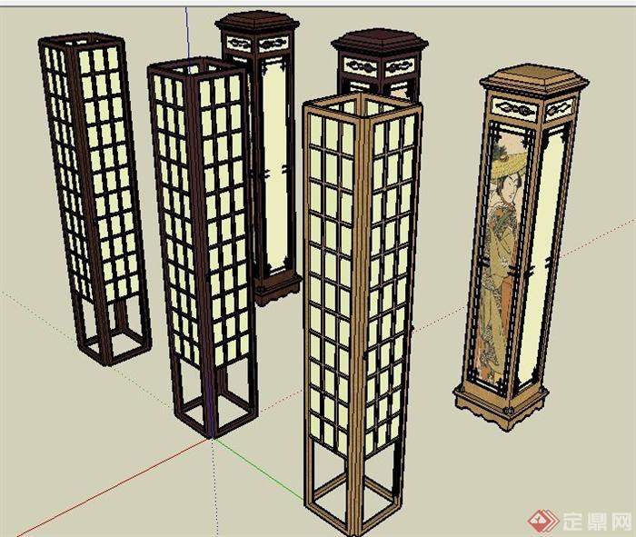 6款中式风格室内灯柱设计su模型[原创]