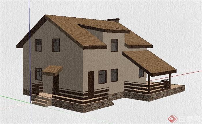 美式风格乡村住宅建筑设计su模型[原创]