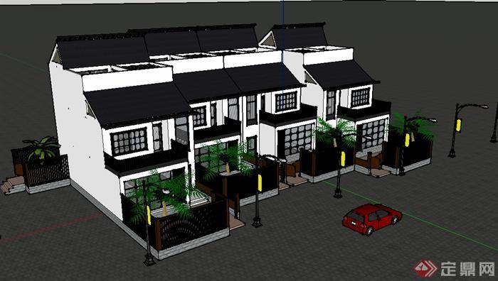 某现代中式风格连拼别墅设计su模型(2)